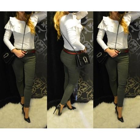 Khaki színű sztreccs nadrág