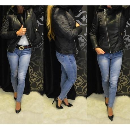 Fekete steppelt kabát (ki-be fordítható)