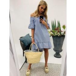 Kék-fehér csíkos fodros ruha