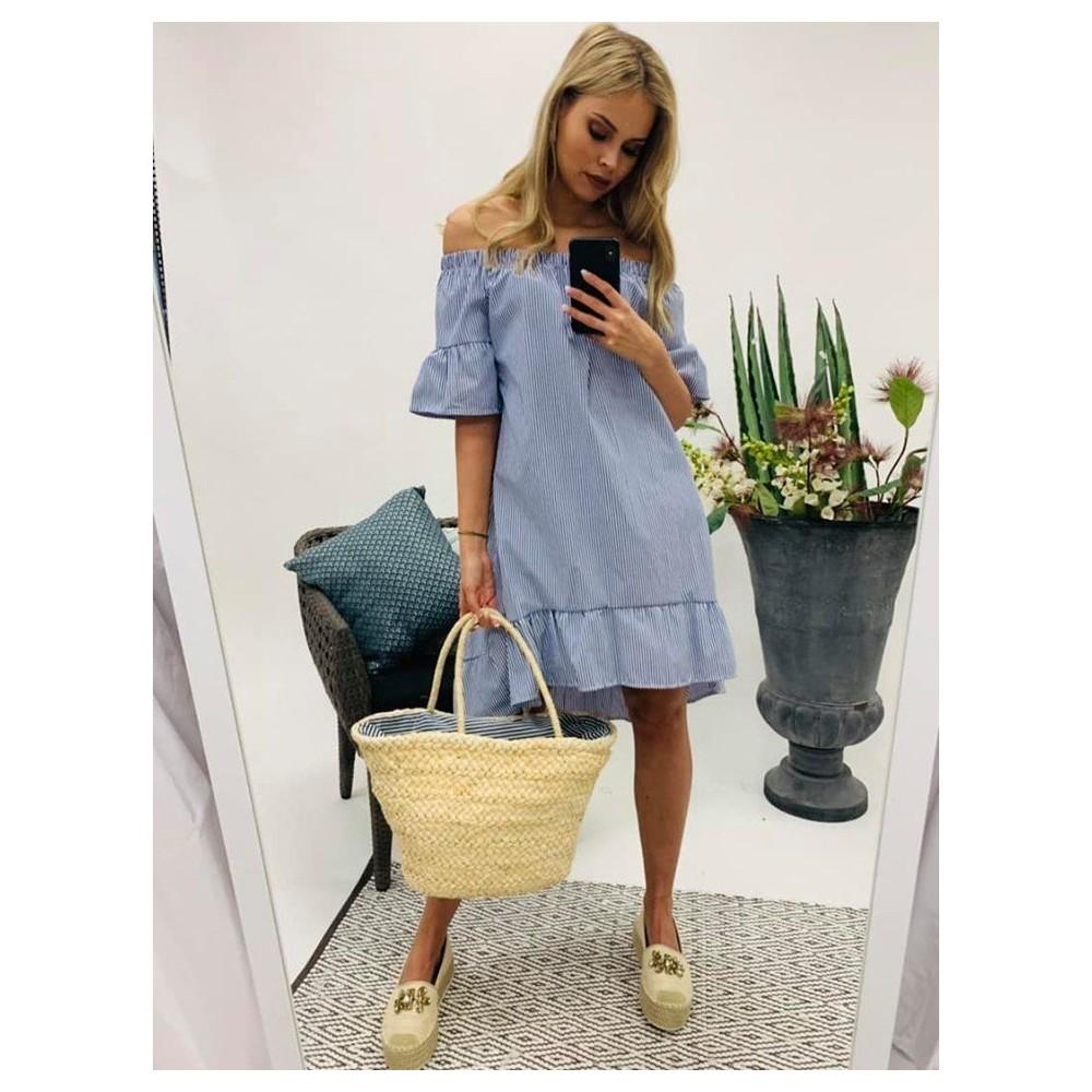 57b7b40a4d Kék-fehér csíkos fodros ruha