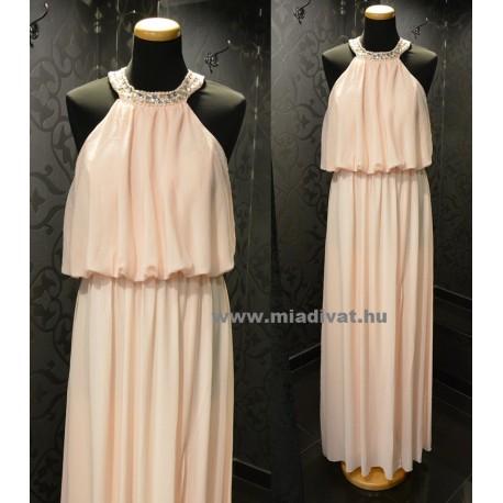 Púderszínű maxi ruha