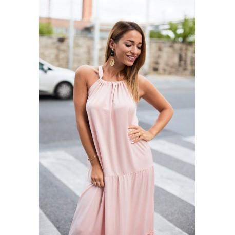 Anna Russo púderrózsaszín maxi ruha