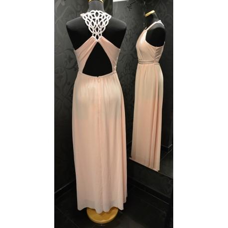 Púder színű maxi ruha