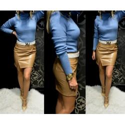 Kék bordás kötött pulóver