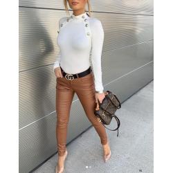 Barna bőrhatású nadrág
