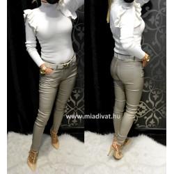 Bézs bőrhatású nadrág